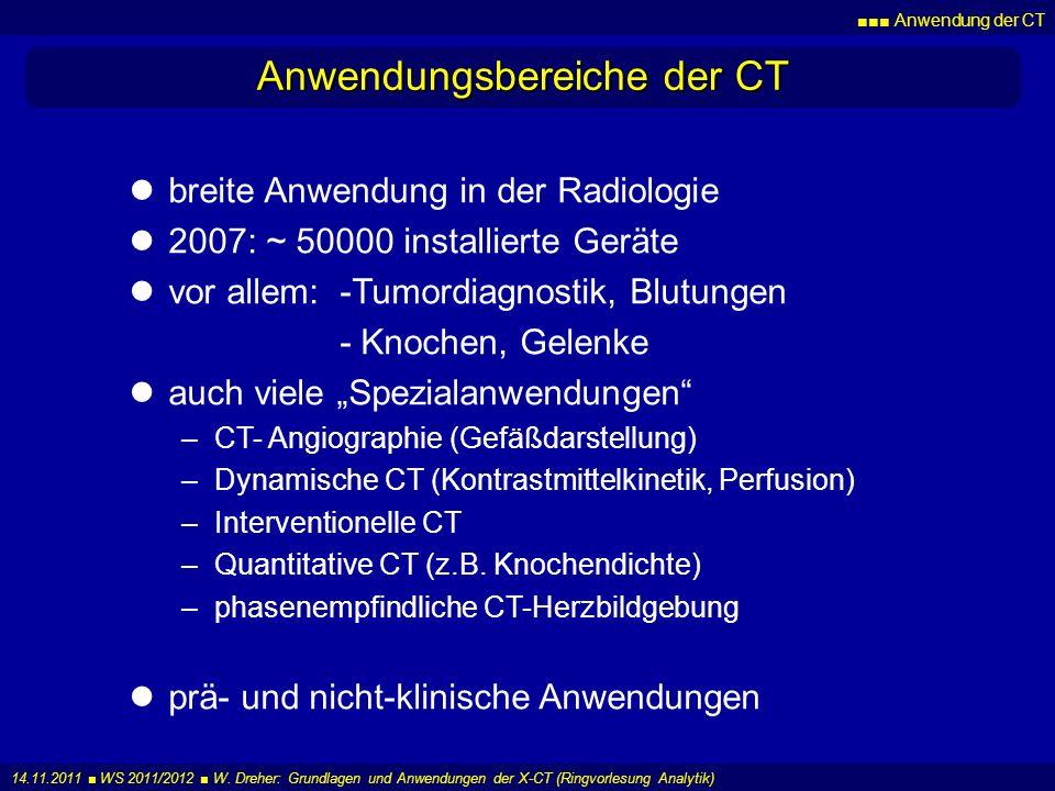 Anwendung der CT 14.11.2011 WS 2011/2012 W. Dreher: Grundlagen und Anwendungen der X-CT (Ringvorlesung Analytik) Anwendungsbereiche der CT breite Anwe