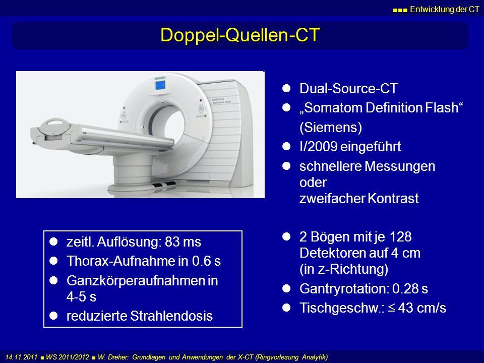 Entwicklung der CT 14.11.2011 WS 2011/2012 W. Dreher: Grundlagen und Anwendungen der X-CT (Ringvorlesung Analytik) Doppel-Quellen-CT Dual-Source-CT So