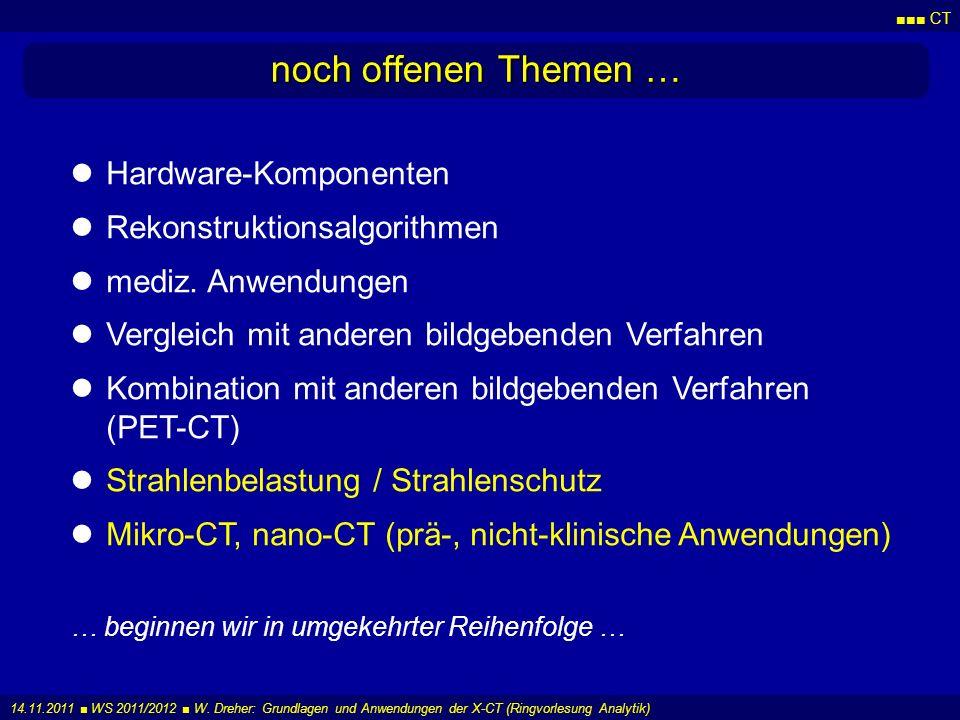 CT 14.11.2011 WS 2011/2012 W. Dreher: Grundlagen und Anwendungen der X-CT (Ringvorlesung Analytik) noch offenen Themen … Hardware-Komponenten Rekonstr