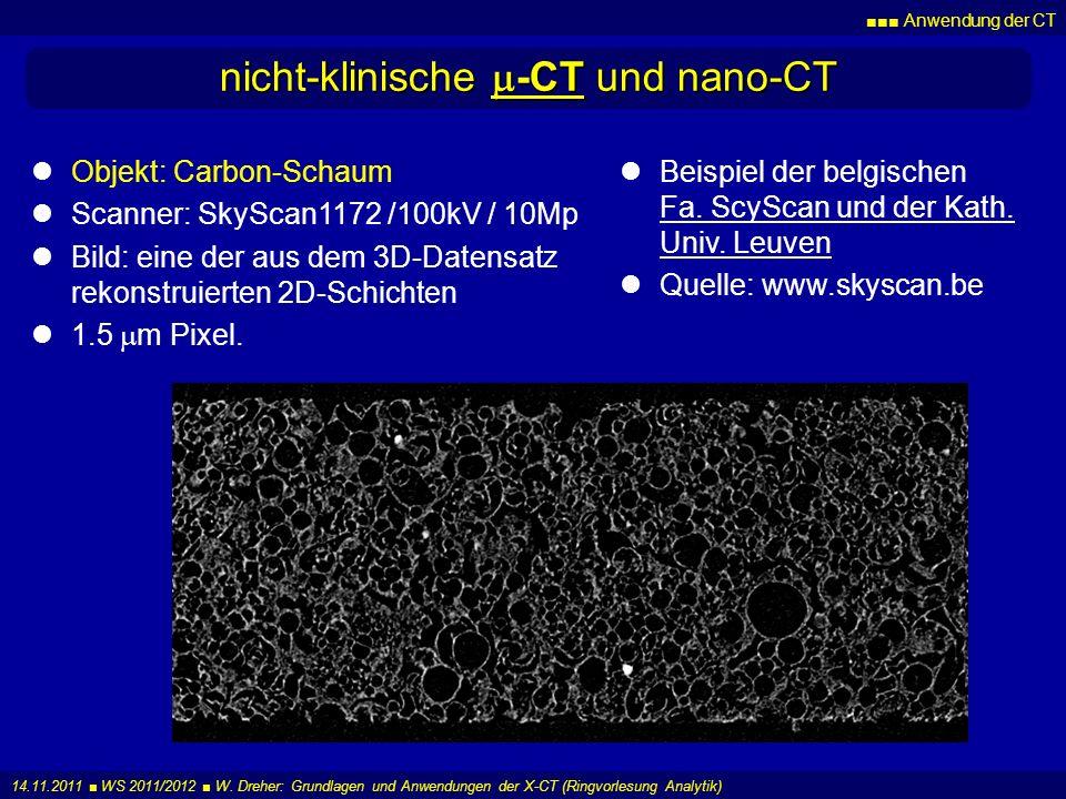 Anwendung der CT 14.11.2011 WS 2011/2012 W. Dreher: Grundlagen und Anwendungen der X-CT (Ringvorlesung Analytik) nicht-klinische -CT und nano-CT Beisp