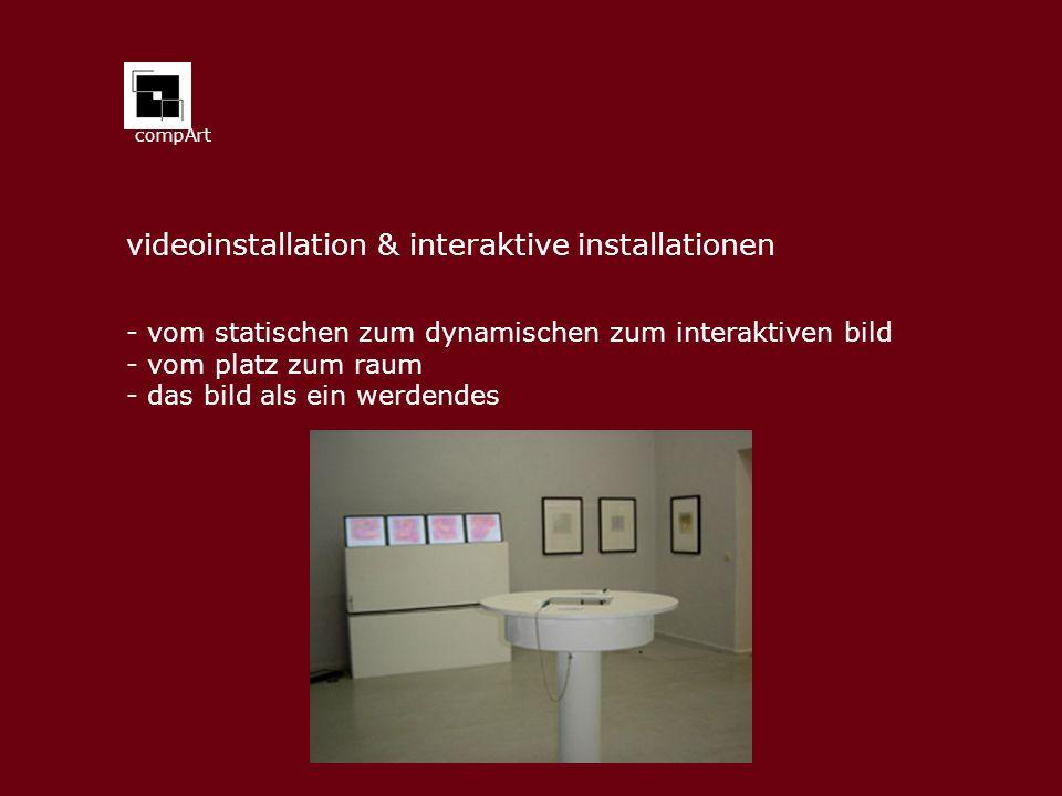 compArt videoinstallation & interaktive installationen - vom statischen zum dynamischen zum interaktiven bild - vom platz zum raum - das bild als ein werdendes