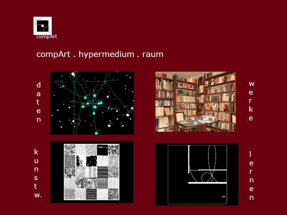 compArt compArt. hypermedium. raum datendaten k u n s t w. werkewerke lernenlernen