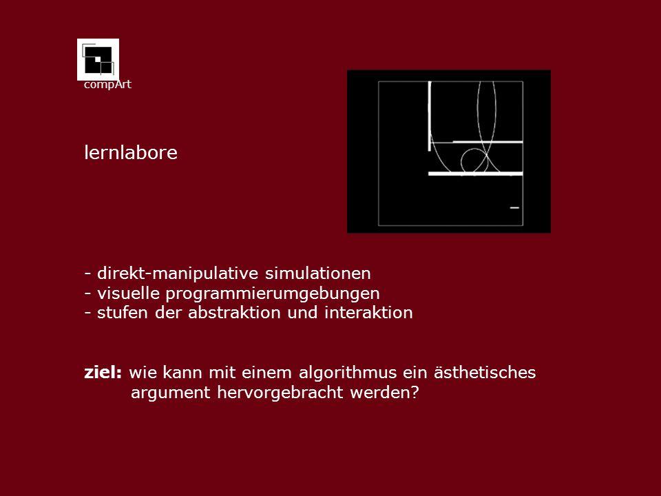 compArt - direkt-manipulative simulationen - visuelle programmierumgebungen - stufen der abstraktion und interaktion ziel: wie kann mit einem algorithmus ein ästhetisches argument hervorgebracht werden.