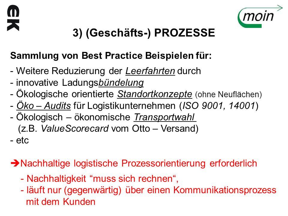 3) (Geschäfts-) PROZESSE Sammlung von Best Practice Beispielen für: - Weitere Reduzierung der Leerfahrten durch - innovative Ladungsbündelung - Ökolog