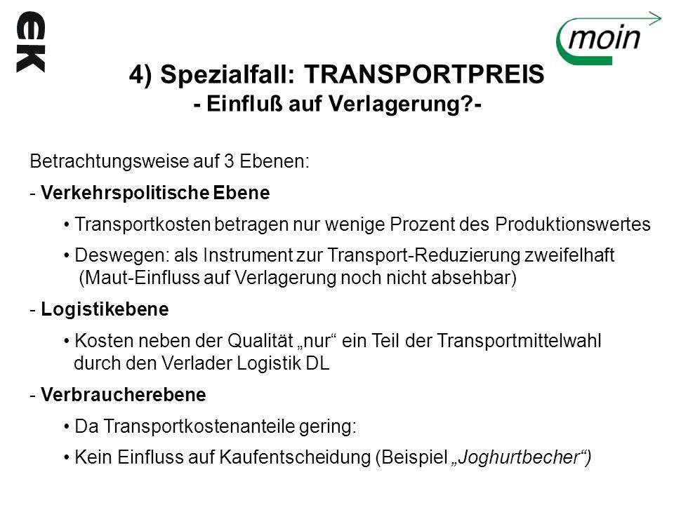 4) Spezialfall: TRANSPORTPREIS - Einfluß auf Verlagerung?- Betrachtungsweise auf 3 Ebenen: - Verkehrspolitische Ebene Transportkosten betragen nur wen
