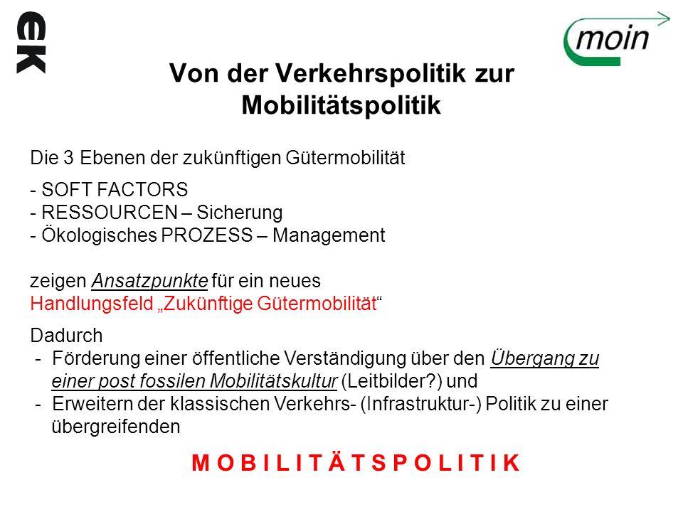 Von der Verkehrspolitik zur Mobilitätspolitik Die 3 Ebenen der zukünftigen Gütermobilität - SOFT FACTORS - RESSOURCEN – Sicherung - Ökologisches PROZE