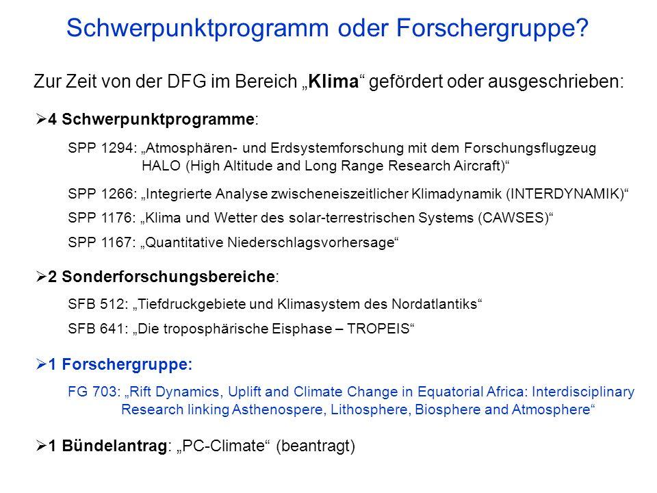 4 Schwerpunktprogramme: SPP 1294: Atmosphären- und Erdsystemforschung mit dem Forschungsflugzeug HALO (High Altitude and Long Range Research Aircraft)