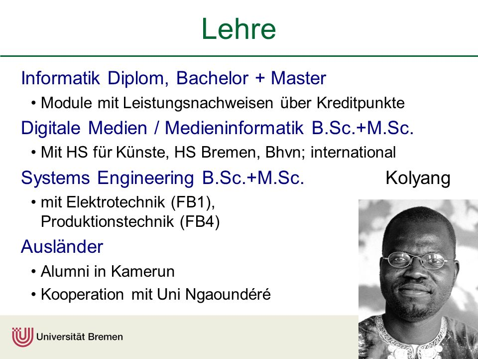 Lehre Informatik Diplom, Bachelor + Master Module mit Leistungsnachweisen über Kreditpunkte Digitale Medien / Medieninformatik B.Sc.+M.Sc.