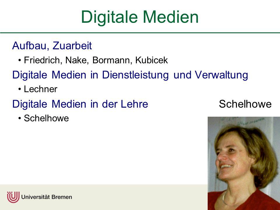 Digitale Medien Aufbau, Zuarbeit Friedrich, Nake, Bormann, Kubicek Digitale Medien in Dienstleistung und Verwaltung Lechner Digitale Medien in der Lehre Schelhowe