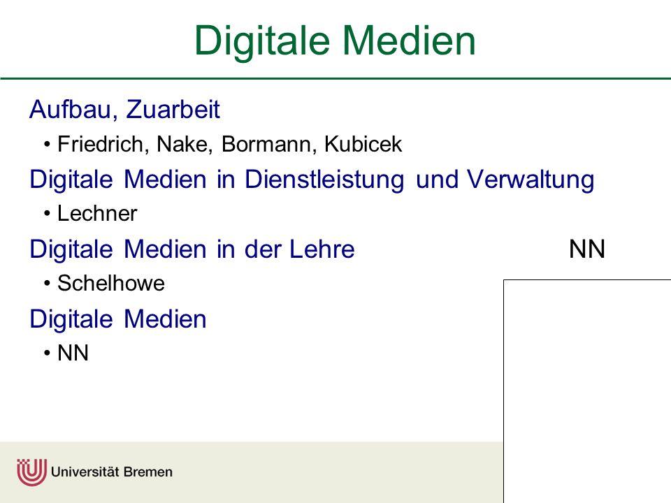 Digitale Medien Aufbau, Zuarbeit Friedrich, Nake, Bormann, Kubicek Digitale Medien in Dienstleistung und Verwaltung Lechner Digitale Medien in der Lehre Schelhowe Digitale Medien NN