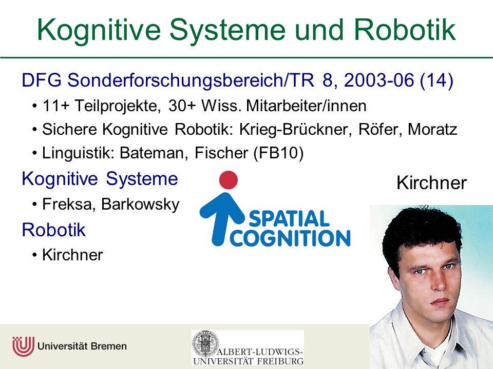 Kognitive Systeme und Robotik DFG Sonderforschungsbereich/TR 8, 2003-06 (14) 11+ Teilprojekte, 30+ Wiss.