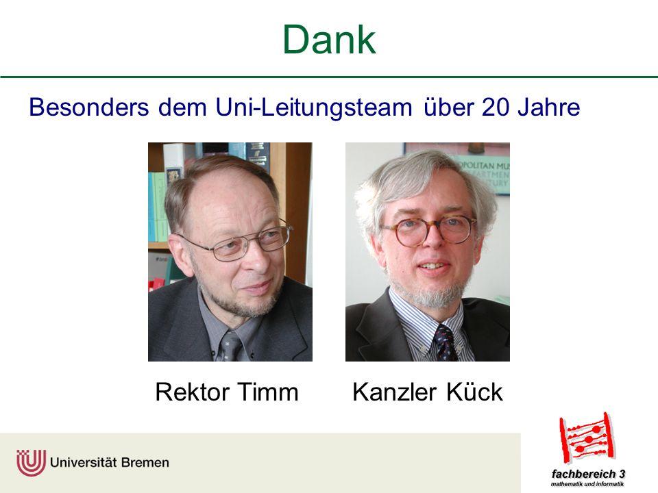 Dank Besonders dem Uni-Leitungsteam über 20 Jahre Rektor TimmKanzler Kück