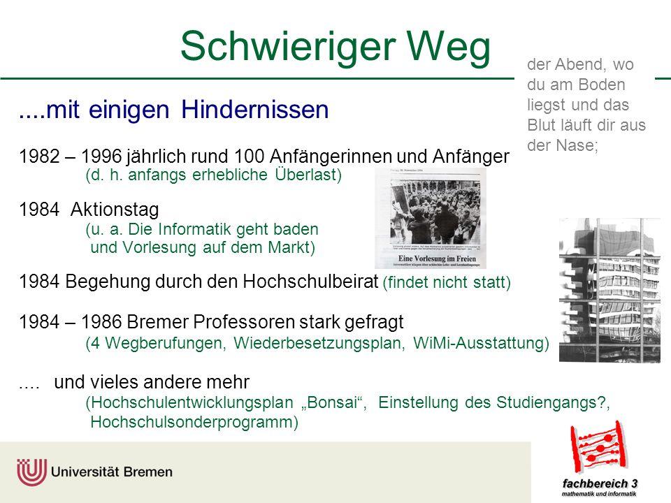 Schwieriger Weg....mit einigen Hindernissen 1982 – 1996 jährlich rund 100 Anfängerinnen und Anfänger (d.