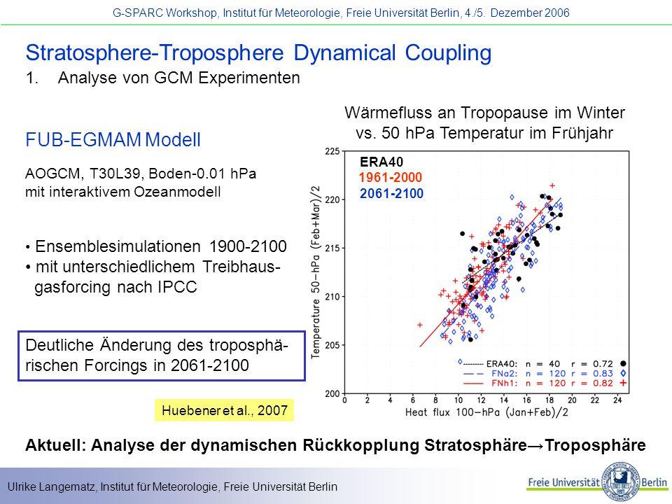 Ulrike Langematz, Institut für Meteorologie, Freie Universität Berlin G-SPARC Workshop, Institut für Meteorologie, Freie Universität Berlin, 4./5.