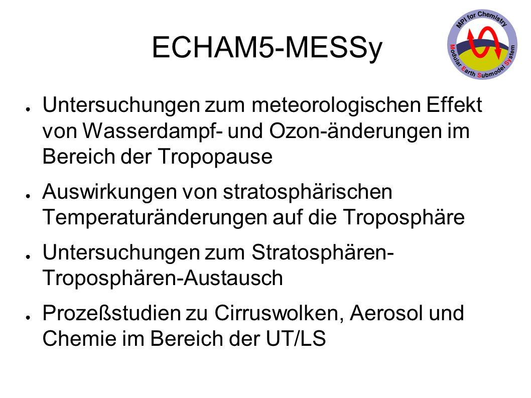 ECHAM5-MESSy Untersuchungen zum meteorologischen Effekt von Wasserdampf- und Ozon-änderungen im Bereich der Tropopause Auswirkungen von stratosphärischen Temperaturänderungen auf die Troposphäre Untersuchungen zum Stratosphären- Troposphären-Austausch Prozeßstudien zu Cirruswolken, Aerosol und Chemie im Bereich der UT/LS