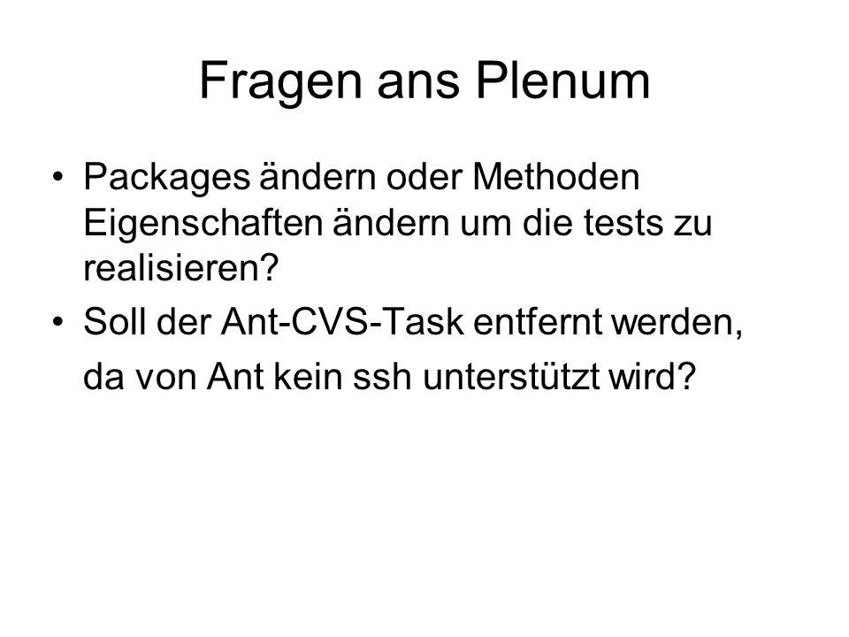 Fragen ans Plenum Packages ändern oder Methoden Eigenschaften ändern um die tests zu realisieren.
