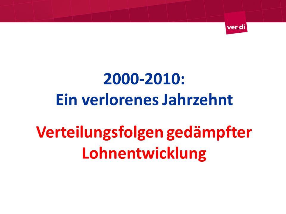 2000-2010: Ein verlorenes Jahrzehnt Verteilungsfolgen gedämpfter Lohnentwicklung