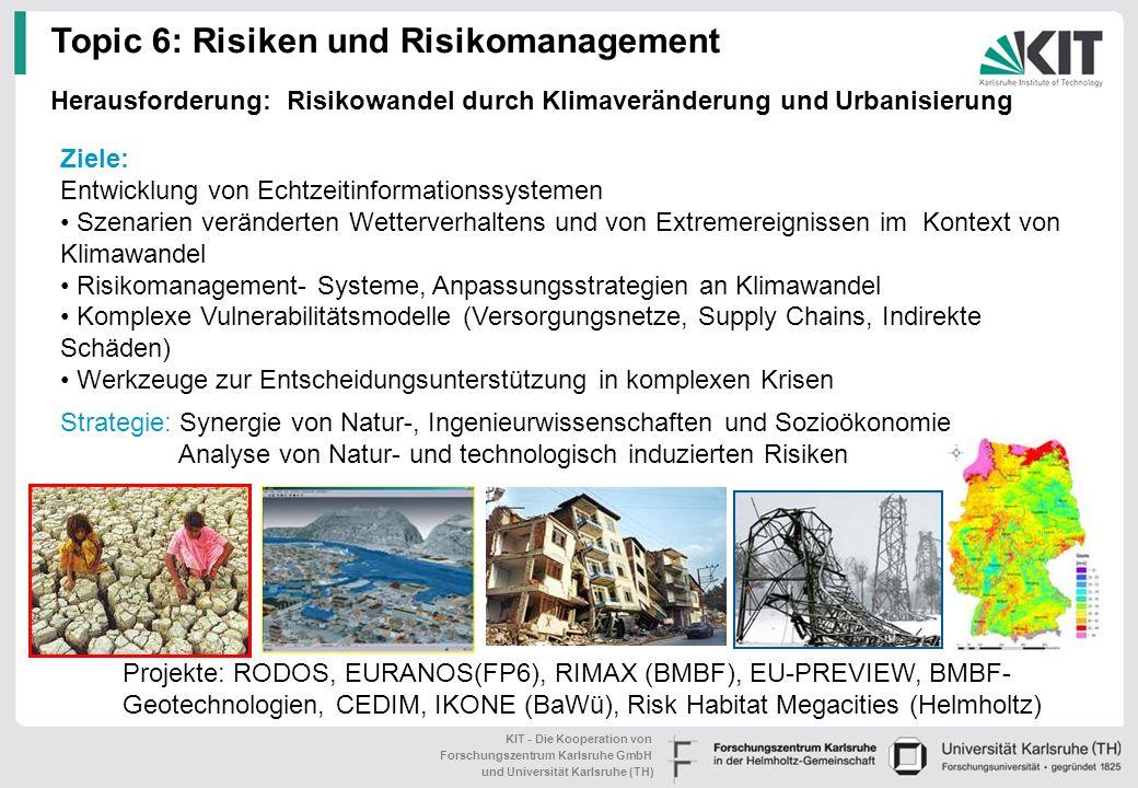 KIT - Die Kooperation von Forschungszentrum Karlsruhe GmbH und Universität Karlsruhe (TH) BMBF- Projekt: Integriertes Wasser- ressourcen- Management i