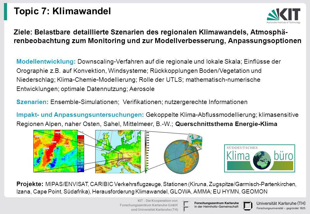 KIT - Die Kooperation von Forschungszentrum Karlsruhe GmbH und Universität Karlsruhe (TH) Topic 6: Risiken und Risikomanagement Herausforderung: Risik