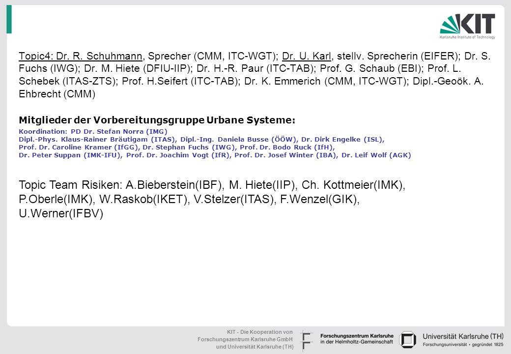 KIT - Die Kooperation von Forschungszentrum Karlsruhe GmbH und Universität Karlsruhe (TH) Das KIT-Zentrum KLIMA und UMWELT: Struktur und Gremien (Entw