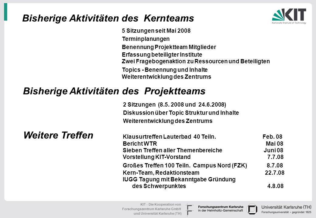 KIT - Die Kooperation von Forschungszentrum Karlsruhe GmbH und Universität Karlsruhe (TH) Mitglieder Kernteam Prof. Dr. Kottmeier IMK Prof. Dr. Nestma