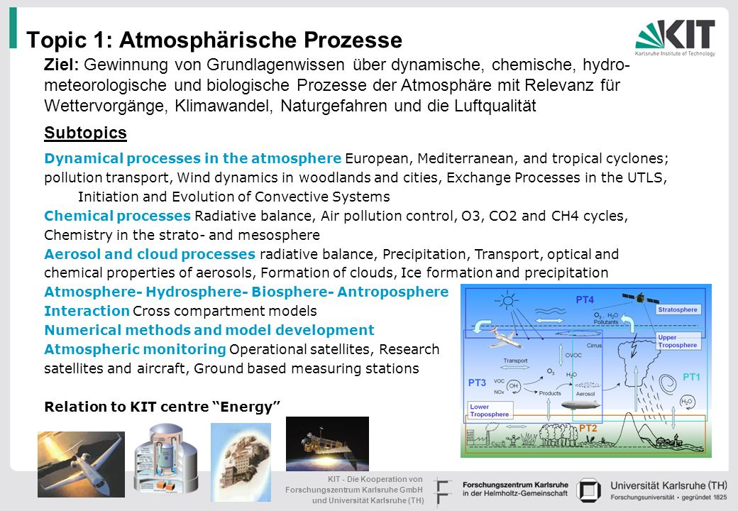 KIT - Die Kooperation von Forschungszentrum Karlsruhe GmbH und Universität Karlsruhe (TH) Dynamical processes in the atmosphere European, Mediterranean, and tropical cyclones; pollution transport, Wind dynamics in woodlands and cities, Exchange Processes in the UTLS, Initiation and Evolution of Convective Systems Chemical processes Radiative balance, Air pollution control, O3, CO2 and CH4 cycles, Chemistry in the strato- and mesosphere Aerosol and cloud processes radiative balance, Precipitation, Transport, optical and chemical properties of aerosols, Formation of clouds, Ice formation and precipitation Atmosphere- Hydrosphere- Biosphere- Antroposphere Interaction Cross compartment models Numerical methods and model development Atmospheric monitoring Operational satellites, Research satellites and aircraft, Ground based measuring stations Relation to KIT centre Energy Topic 1:Atmosphärische Prozesse Subtopics Ziel: Gewinnung von Grundlagenwissen über dynamische, chemische, hydro- meteorologische und biologische Prozesse der Atmosphäre mit Relevanz für Wettervorgänge, Klimawandel, Naturgefahren und die Luftqualität