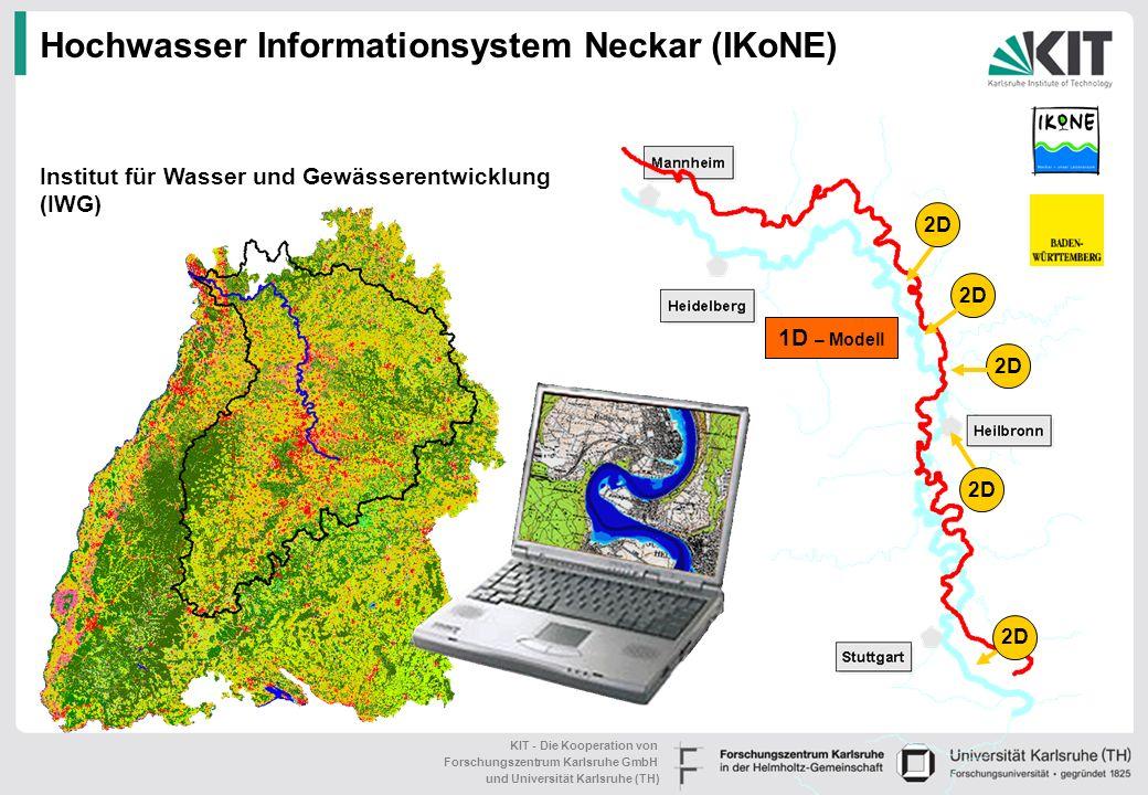 KIT - Die Kooperation von Forschungszentrum Karlsruhe GmbH und Universität Karlsruhe (TH) Hochwasser Informationsystem Neckar (IKoNE) 1D – Modell 2D Institut für Wasser und Gewässerentwicklung (IWG)