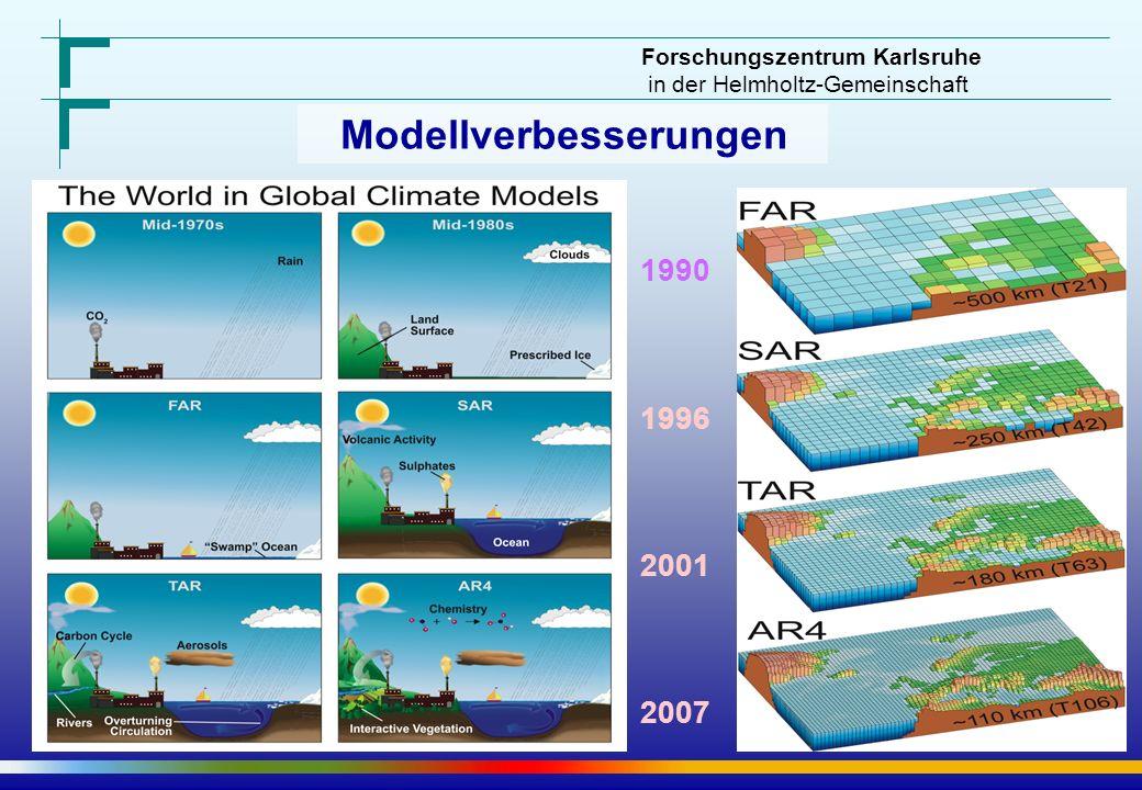 Forschungszentrum Karlsruhe in der Helmholtz-Gemeinschaft Modellverbesserungen 1990 1996 2001 2007
