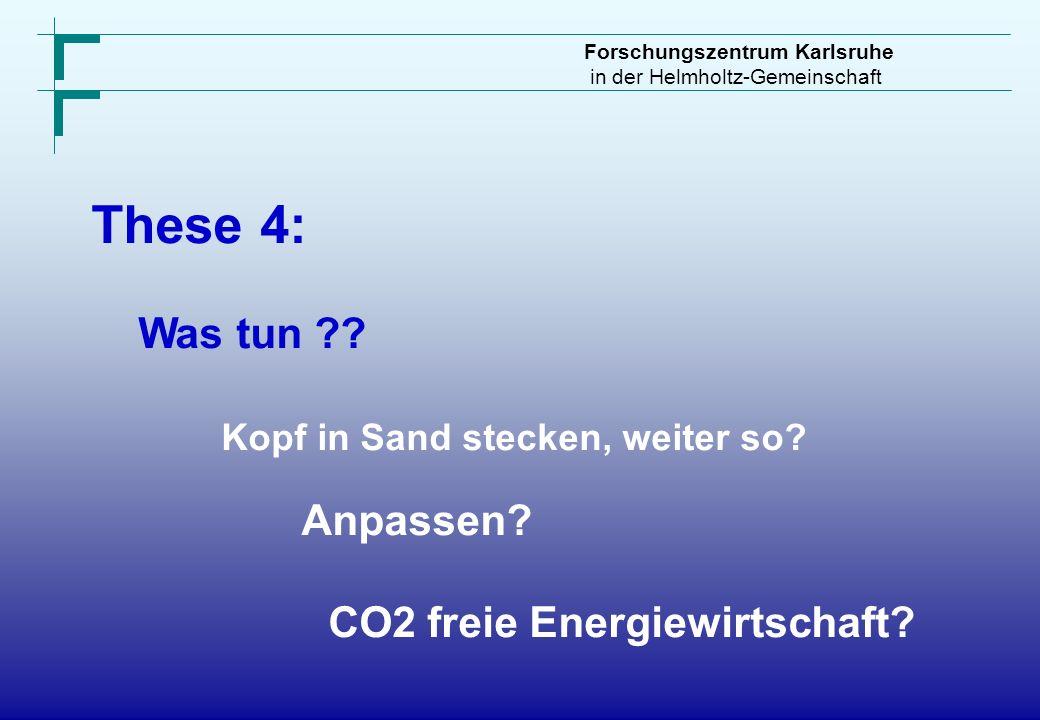 Forschungszentrum Karlsruhe in der Helmholtz-Gemeinschaft These 4: Was tun ?? Kopf in Sand stecken, weiter so? Anpassen? CO2 freie Energiewirtschaft?
