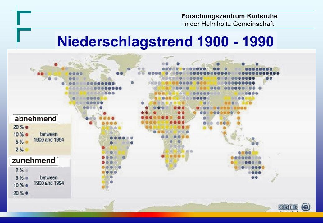 Forschungszentrum Karlsruhe in der Helmholtz-Gemeinschaft 10°C 7 5 4 3.5 3 2.5 2 1.5 1 0.5 0 -0.5 50% 30 20 15 10 5 0 -5 -10 -15 -20 -30 -50 Regionale Prognose – Szenario A1B