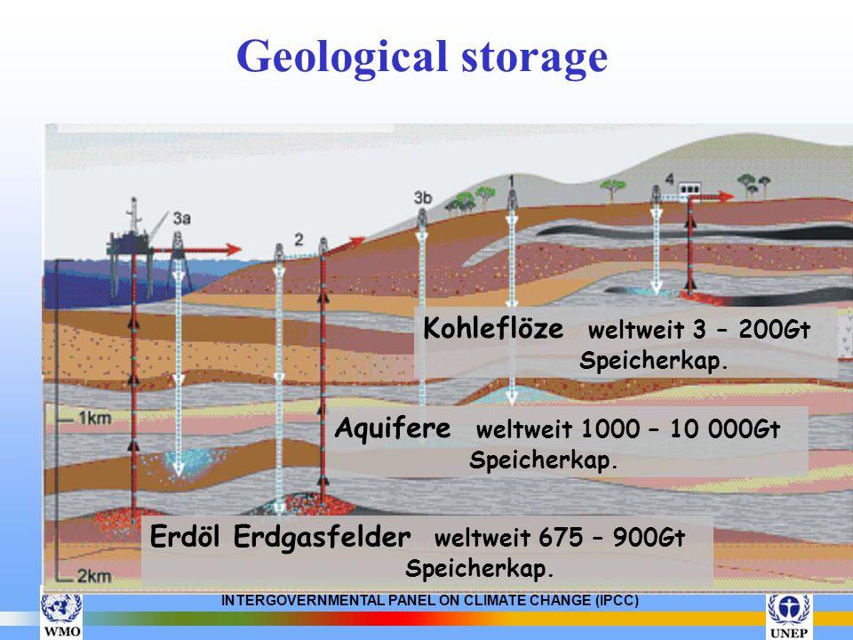 INTERGOVERNMENTAL PANEL ON CLIMATE CHANGE (IPCC) Geological storage Aquifere weltweit 1000 – 10 000Gt Speicherkap. Erdöl Erdgasfelder weltweit 675 – 9