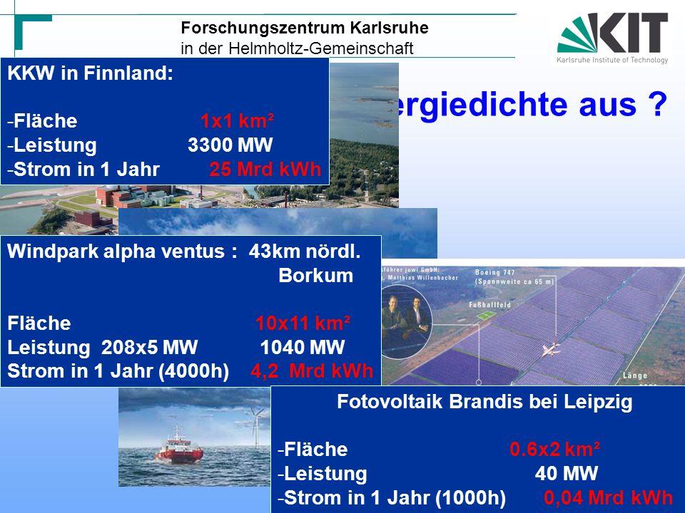 Konsequenzen daraus – Zur Deckung des privaten Strombedarfs in Deutschland in 1 Jahr wären nötig: Anzahl Anlagen Baukosten Stromrechnung pro Haushalt pro Monat in KKW840 Mrd50,- Windpark 4867 Mrd250,- Solar5000650 Mrd750,- 3c/kwh 15c/kwh 45c/kwh 6 625 1,7 16 Forschungszentrum Karlsruhe in der Helmholtz-Gemeinschaft