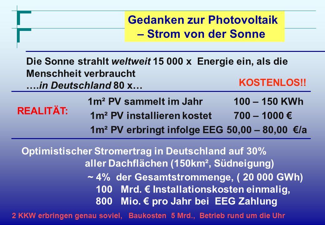 Forschungszentrum Karlsruhe in der Helmholtz-Gemeinschaft Gedanken zur Photovoltaik – Strom von der Sonne Die Sonne strahlt weltweit 15 000 x Energie
