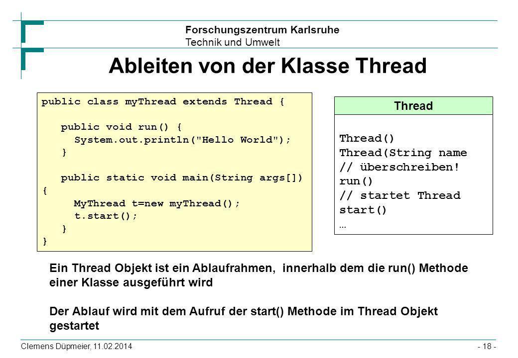 Forschungszentrum Karlsruhe Technik und Umwelt Clemens Düpmeier, 11.02.2014- 18 - Ableiten von der Klasse Thread Thread Thread() Thread(String name //