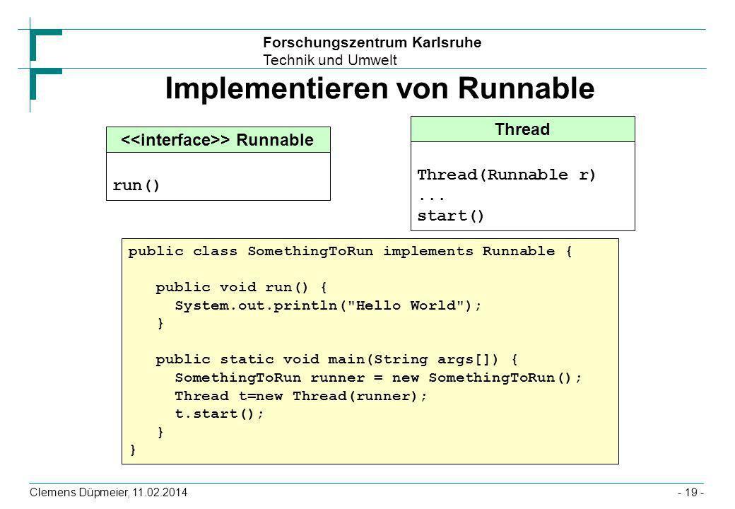 Forschungszentrum Karlsruhe Technik und Umwelt Clemens Düpmeier, 11.02.2014- 19 - Implementieren von Runnable Thread Thread(Runnable r)... start() pub