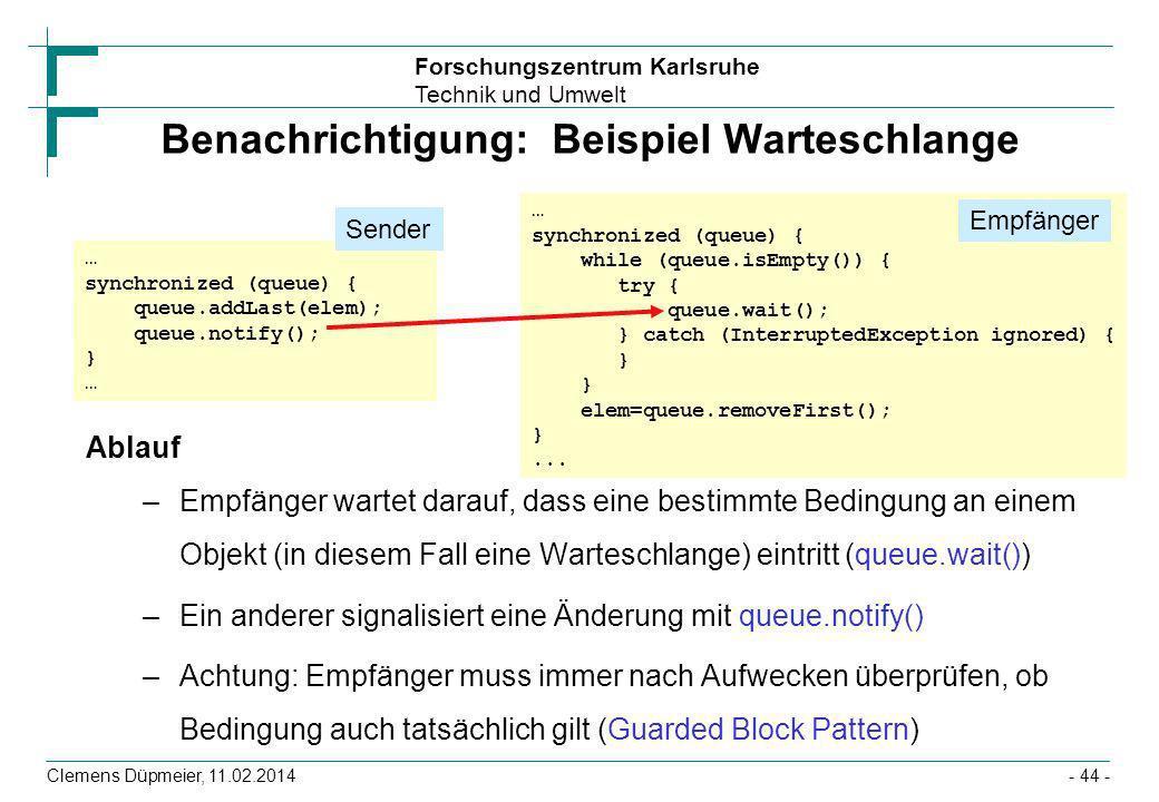 Forschungszentrum Karlsruhe Technik und Umwelt Clemens Düpmeier, 11.02.2014- 44 - Benachrichtigung: Beispiel Warteschlange Ablauf –Empfänger wartet da