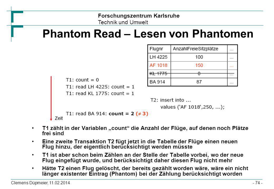 Forschungszentrum Karlsruhe Technik und Umwelt Clemens Düpmeier, 11.02.2014- 74 - Phantom Read – Lesen von Phantomen T1 zählt in der Variablen count d