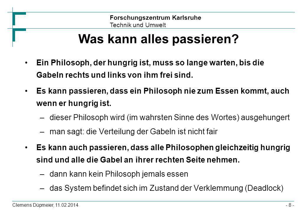 Forschungszentrum Karlsruhe Technik und Umwelt Clemens Düpmeier, 11.02.2014- 8 - Was kann alles passieren? Ein Philosoph, der hungrig ist, muss so lan