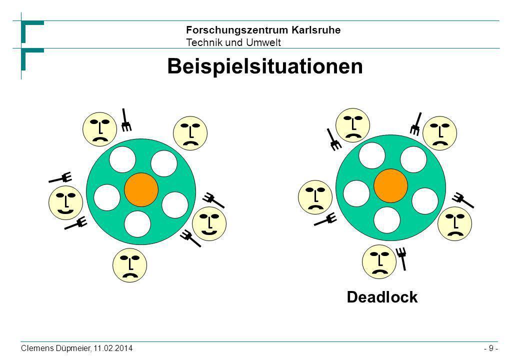 Forschungszentrum Karlsruhe Technik und Umwelt Clemens Düpmeier, 11.02.2014- 9 - Beispielsituationen Deadlock