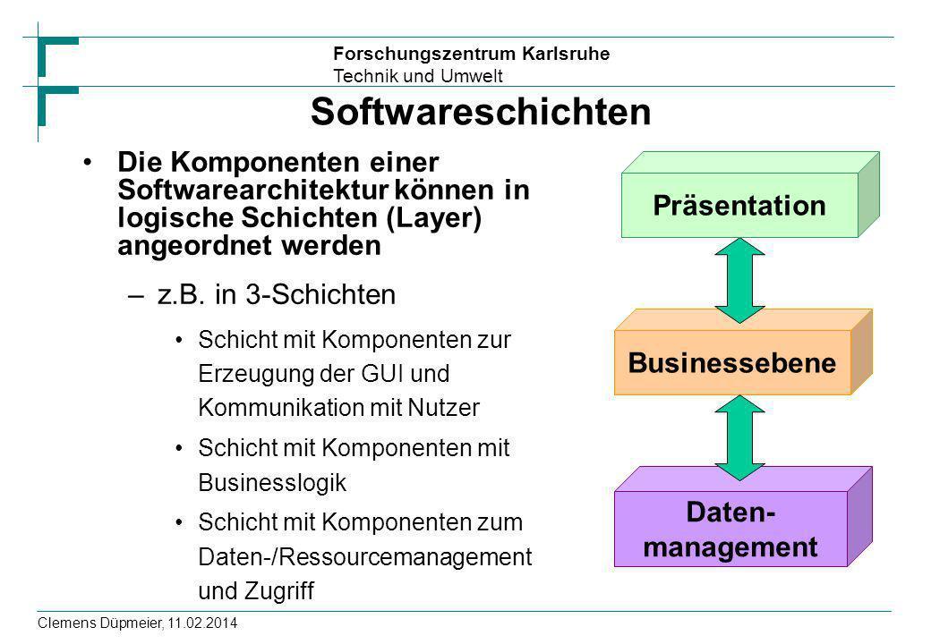 Forschungszentrum Karlsruhe Technik und Umwelt Clemens Düpmeier, 11.02.2014 Softwareschichten Die Komponenten einer Softwarearchitektur können in logi
