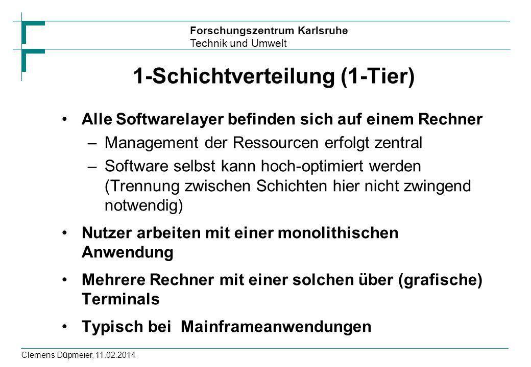 Forschungszentrum Karlsruhe Technik und Umwelt Clemens Düpmeier, 11.02.2014 1-Schichtverteilung (1-Tier) Alle Softwarelayer befinden sich auf einem Re