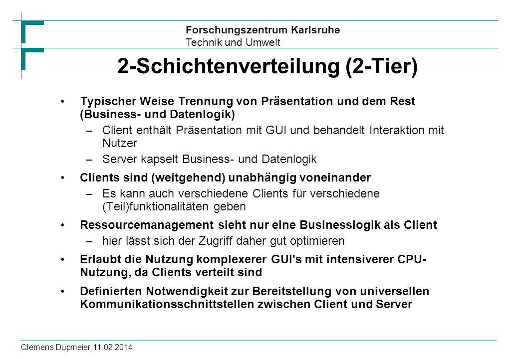 Forschungszentrum Karlsruhe Technik und Umwelt Clemens Düpmeier, 11.02.2014 2-Schichtenverteilung (2-Tier) Typischer Weise Trennung von Präsentation u
