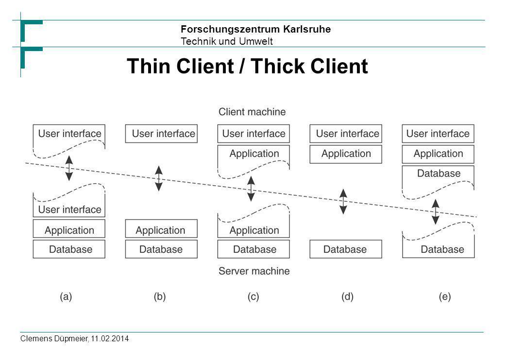 Forschungszentrum Karlsruhe Technik und Umwelt Clemens Düpmeier, 11.02.2014 Thin Client / Thick Client