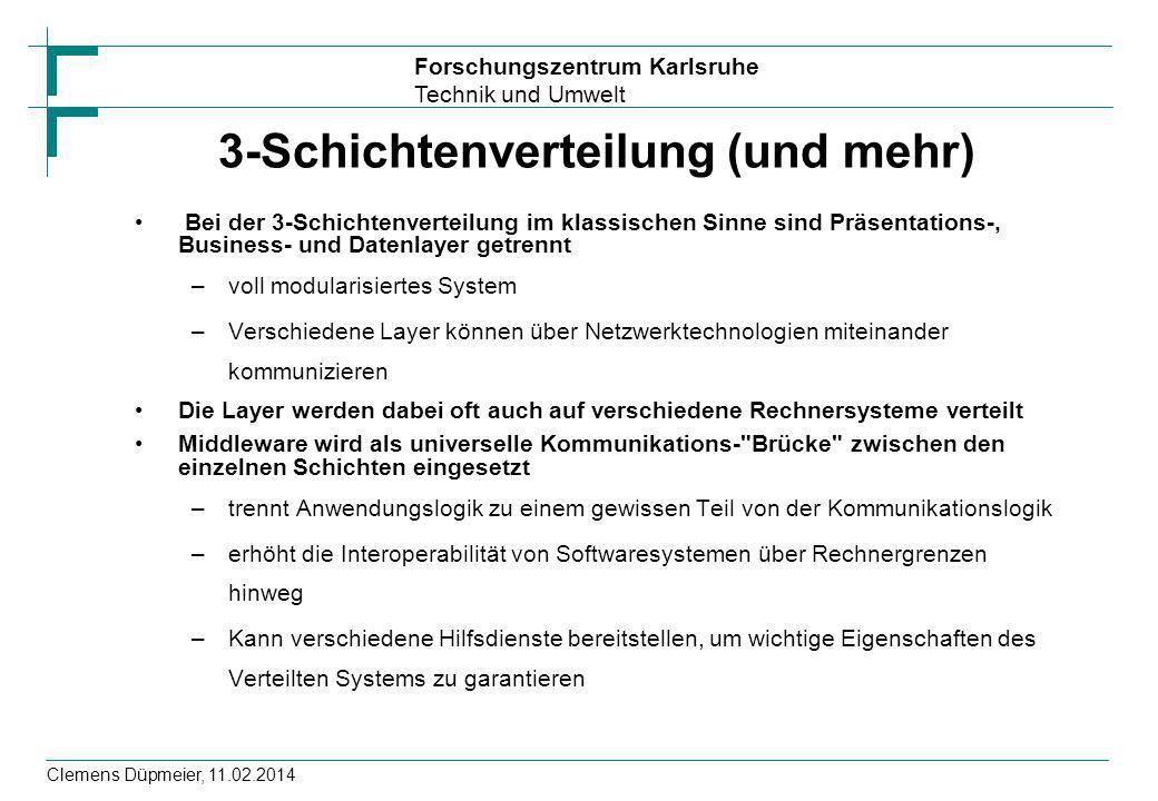 Forschungszentrum Karlsruhe Technik und Umwelt Clemens Düpmeier, 11.02.2014 3-Schichtenverteilung (und mehr) Bei der 3-Schichtenverteilung im klassisc