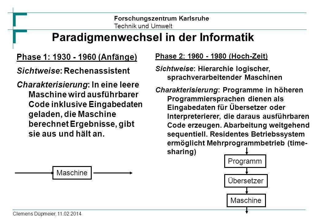 Forschungszentrum Karlsruhe Technik und Umwelt Clemens Düpmeier, 11.02.2014 Paradigmenwechsel in der Informatik Phase 1: 1930 - 1960 (Anfänge) Sichtwe