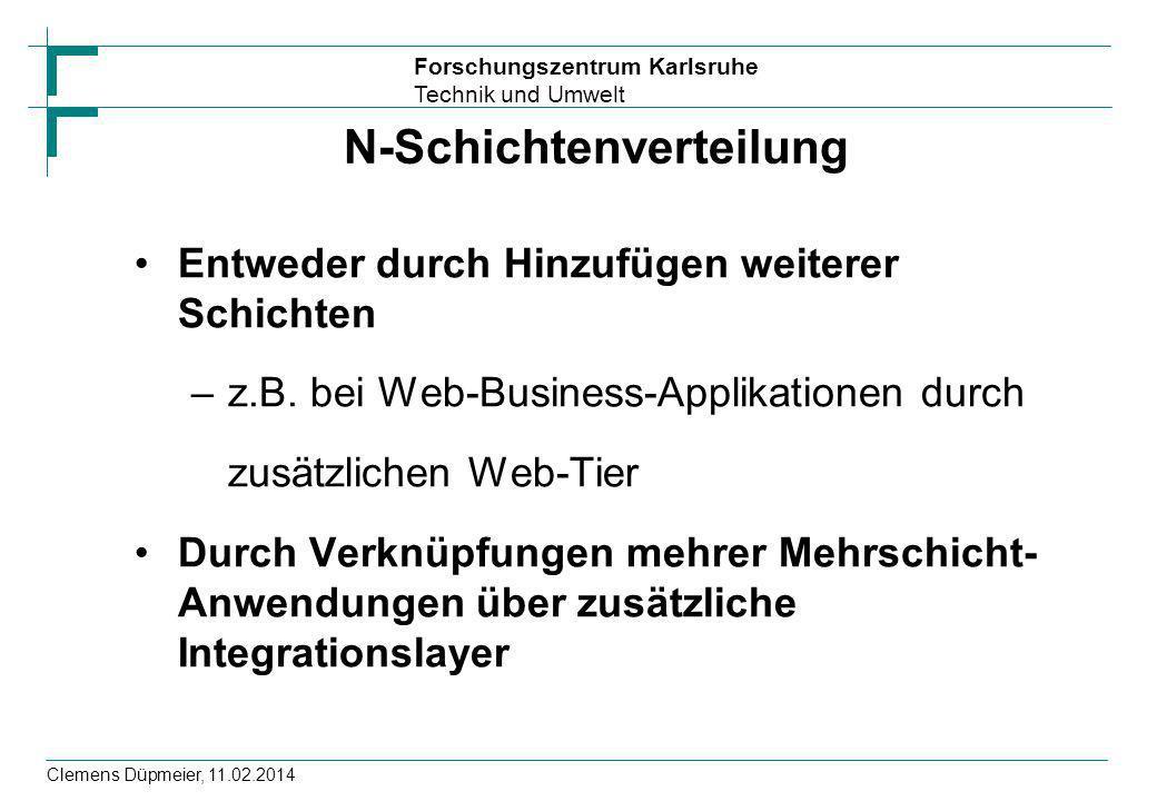 Forschungszentrum Karlsruhe Technik und Umwelt Clemens Düpmeier, 11.02.2014 N-Schichtenverteilung Entweder durch Hinzufügen weiterer Schichten –z.B. b