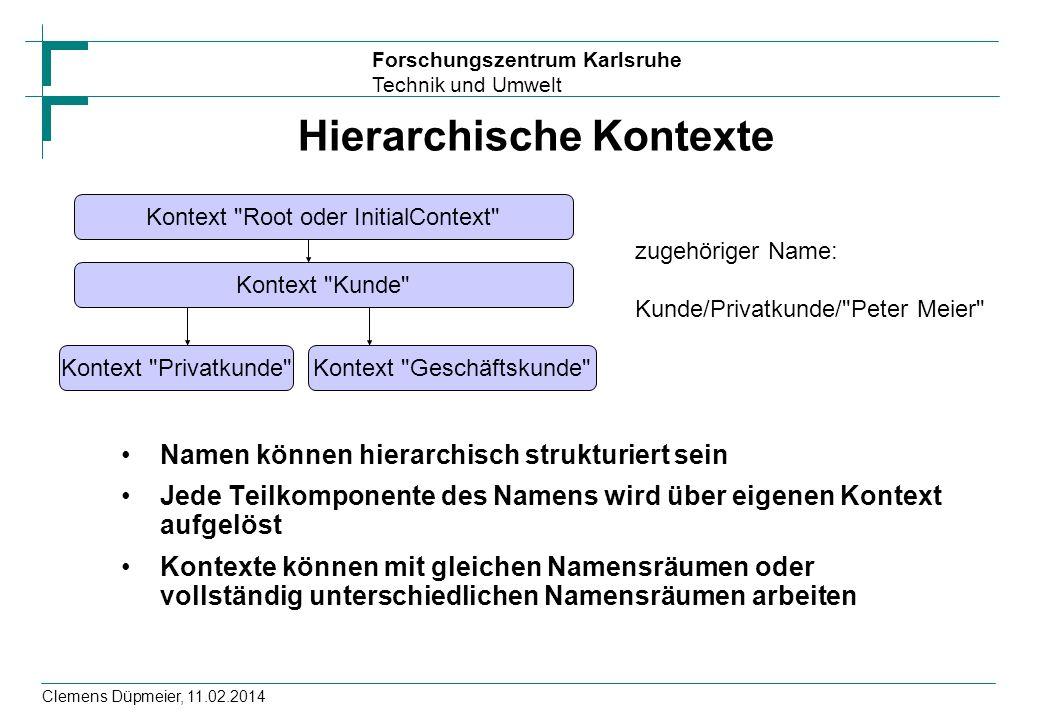 Forschungszentrum Karlsruhe Technik und Umwelt Clemens Düpmeier, 11.02.2014 Hierarchische Kontexte Namen können hierarchisch strukturiert sein Jede Te
