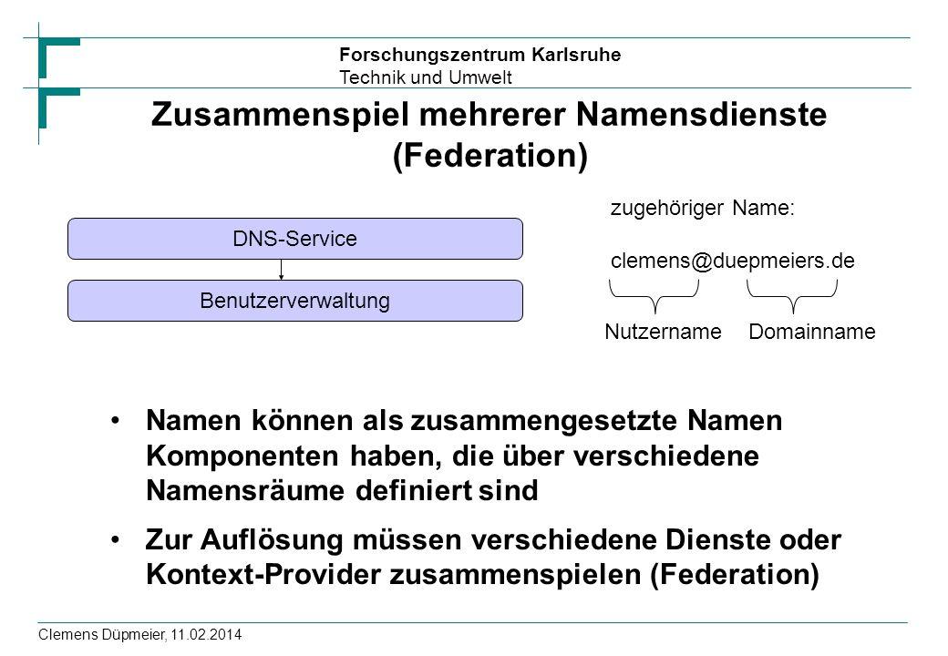 Forschungszentrum Karlsruhe Technik und Umwelt Clemens Düpmeier, 11.02.2014 Zusammenspiel mehrerer Namensdienste (Federation) Namen können als zusamme