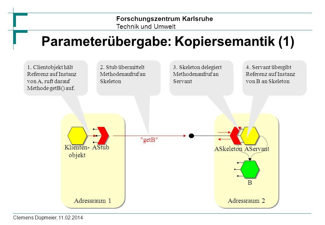 Forschungszentrum Karlsruhe Technik und Umwelt Clemens Düpmeier, 11.02.2014 Parameterübergabe: Kopiersemantik (1) Adressraum 1 Klienten- objekt AStub