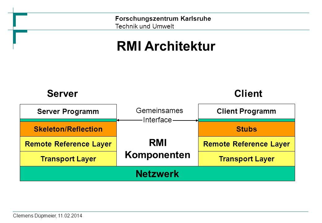 Forschungszentrum Karlsruhe Technik und Umwelt Clemens Düpmeier, 11.02.2014 RMI Architektur Server Programm Skeleton/Reflection Remote Reference Layer